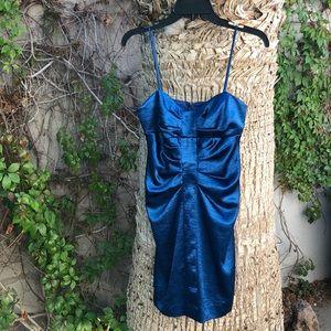 Metallic Blue Mini Dress | Size 7/8